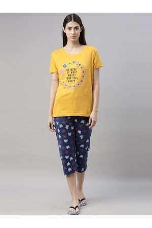 Kryptic Women Mustard & Blue Printed Night Suit Set