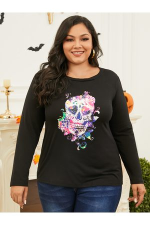 Yoins Plus Size Round Neck Graphic Long Sleeves Tee