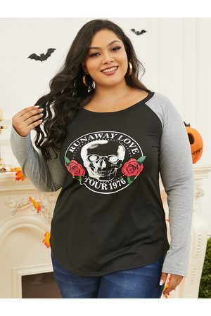 Yoins Plus Size Graphic Patchwork Design Long Sleeves Tee