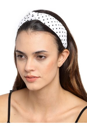 YouBella White & Black Polka Dot Printed Hairband