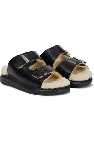 Alexander McQueen Shearling-trimmed leather sandals