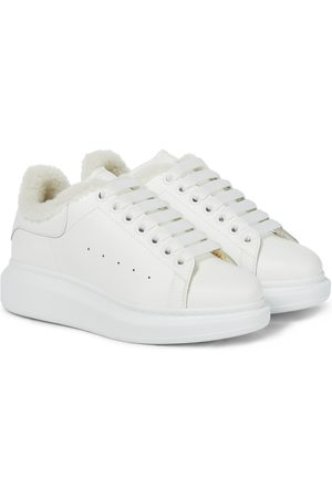 Alexander McQueen Oversized shearling-trimmed leather sneakers