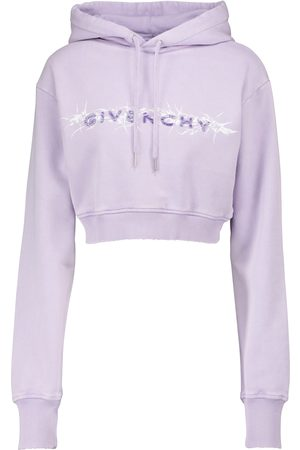 Givenchy Logo cropped cotton jersey hoodie