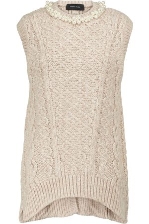 Simone Rocha Embellished cable-knit alpaca and wool-blend vest