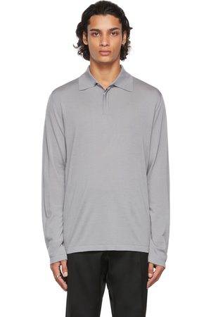 Salie 66 Grey Knit Charles Long Sleeve Polo
