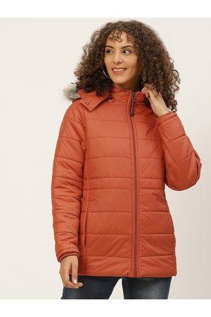 Okane Women Parkas - Women Rust Orange Parka Jacket with Detachable Hood