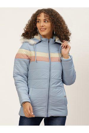 Okane Women Blue Pink Striped Parka Jacket