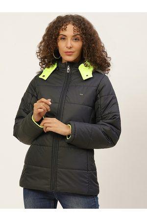 Okane Women Navy Blue Parka Jacket with Detachable Hood