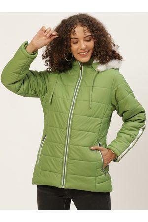 Okane Women Parkas - Women Green Solid Parka Jacket with Detachable Hood