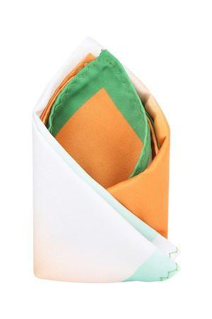 Tossido Men Orange & White Printed Pocket Square