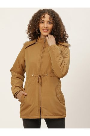 Okane Women Mustard Brown Solid Detachable Hood Parka Jacket