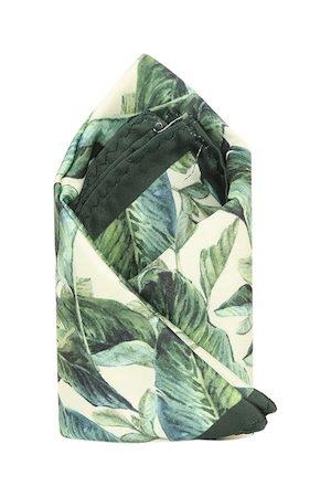 Tossido Men Green & Beige Printed Pure Microfibre Pocket Square