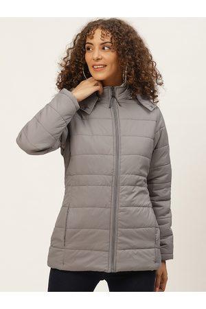 Okane Women Grey Parka Jacket with Detachable Hood
