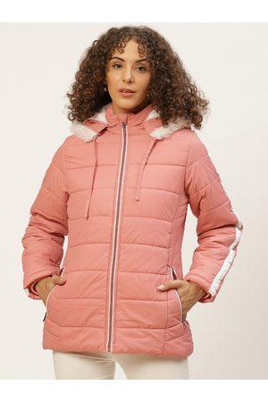 Okane Women Parkas - Women Peach-Coloured Solid Parka Jacket with Detachable Hood