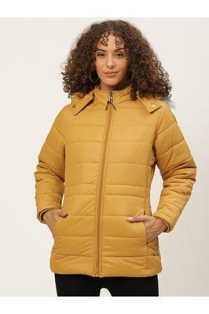 Okane Women Mustard Yellow Solid Detachable Hood Parka Jacket