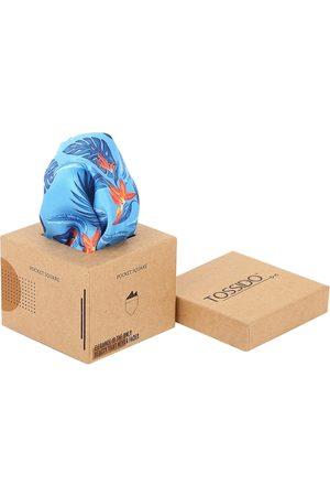 Tossido Men Blue & Orange Printed Pure Microfibre Pocket Square