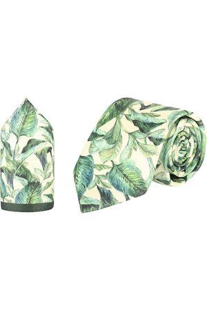 Tossido Men Green & Cream-Coloured Leaf Printed Microfiber Accessory Gift Set
