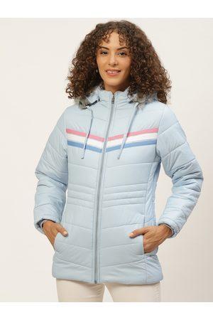 Okane Women Parkas - Women Blue Solid Parka Jacket With Detachable Hood