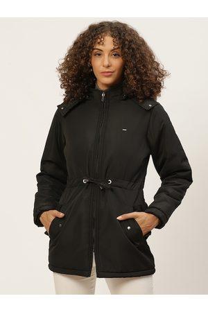 Okane Women Parkas - Women Black Solid Parka Jacket with Detachable Hood