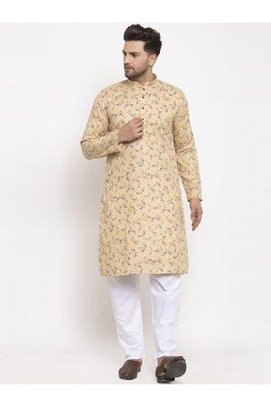 KRAFT INDIA Men Beige & White Ethnic Motifs Printed Regular Kurta With Pyjamas