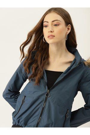 DressBerry Women Teal Blue Solid Parka Jacket
