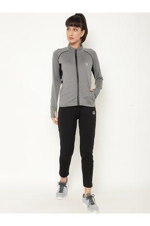 Chkokko Women Grey Solid Sports Tracksuit