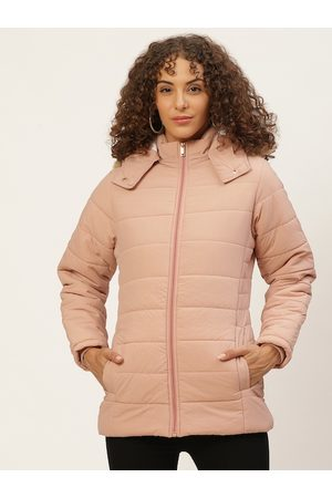 Okane Women Peach-Coloured Solid Parka Jacket With Detachable Hood