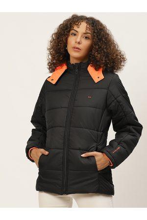 Okane Women Black Solid Detachable Hood Parka Jacket