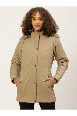 Okane Women Beige Solid Detachable Hood Parka Jacket