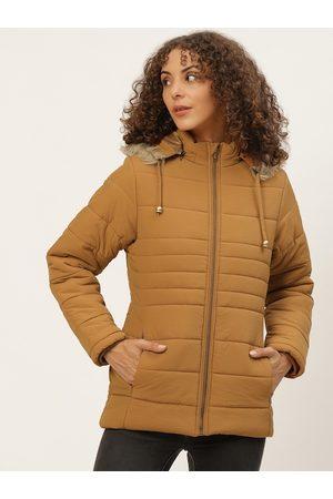 Okane Women Rust Orange Solid Detachable Hood Parka Jacket