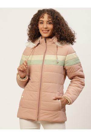 Okane Women Peach-Coloured Striped Detachable Hood Parka Jacket