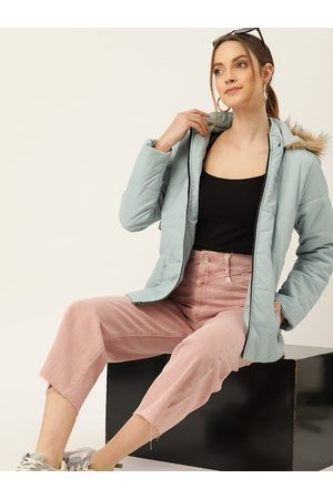 DressBerry Women Blue Solid Hooded Faux Fur Parka Jacket