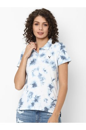 AMERICAN EAGLE OUTFITTERS Women Blue Tie and Dye Polo Collar T-shirt
