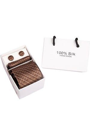 BANGE Men Neckties - Men Brown Tie and Cufflink Gift Set