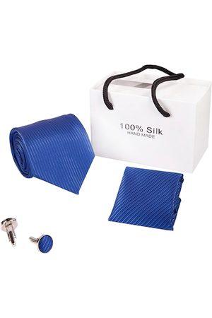 BANGE Men Neckties - Men Blue & Silver-Toned Pure Silk Accessory Gift Set