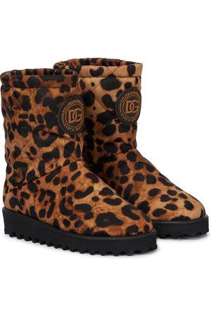 Dolce & Gabbana Kids Girls Boots - Quilted leopard-print boots