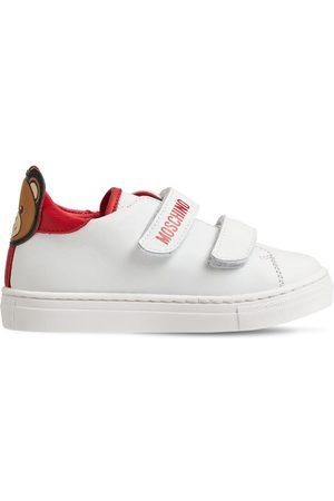 MOSCHINO Teddy Bear Strapped Leather Sneakers