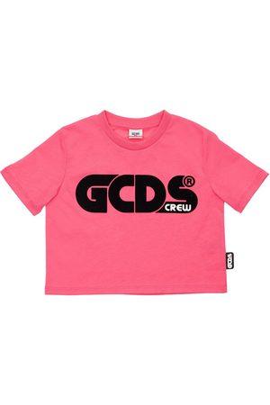 GCDS Flocked Logo Cotton Jersey T-shirt