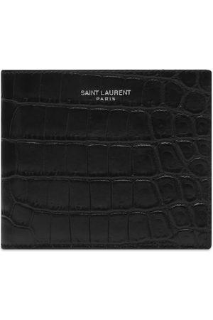 Saint Laurent Logo Croc Leather Billfold Wallet
