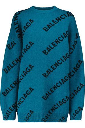 Balenciaga Logo wool-blend oversized sweater