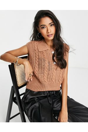 Y.A.S Cable knitted vest in