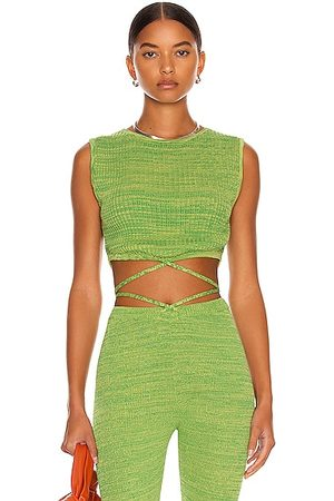 Christopher Esber Sleeveless Knit Tie Crop Top in Lime Marle