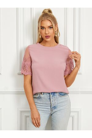 YOINS Embroidered Crew Neck Short Sleeves Blouse