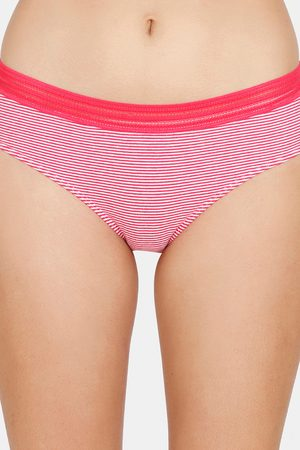 Zivame Converge Stripe Low Rise Full Coverage Hipster Panty Raspberry Strp