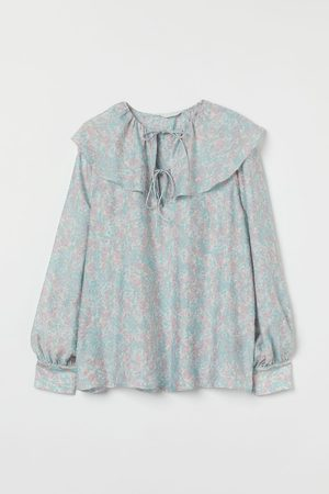 H & M Flounce-collared blouse - Turquoise