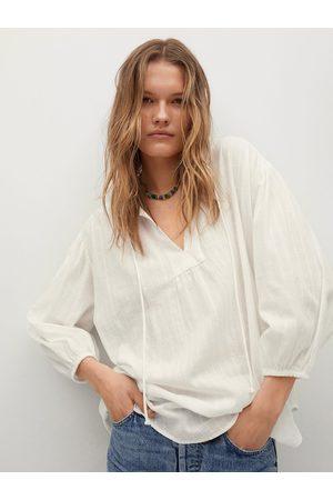 MANGO White Pure Cotton Self-Design Tie-Up Neck Regular Top