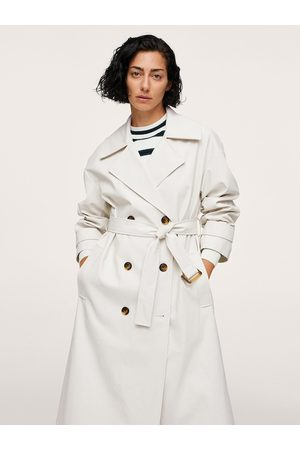 MANGO Women Off-White Solid Long Line Trench Coat With Belt