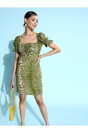KASSUALLY Green & White Animal Print Waisted Bodycon Dress