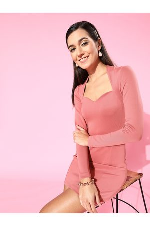 KASSUALLY Pink Sweetheart Neck Scuba Bodycon Dress