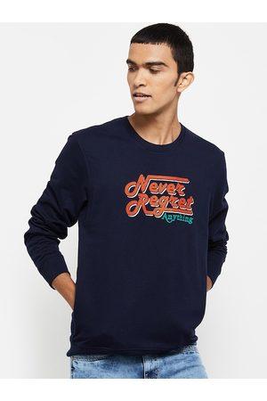 max Men Blue Printed Sweatshirt